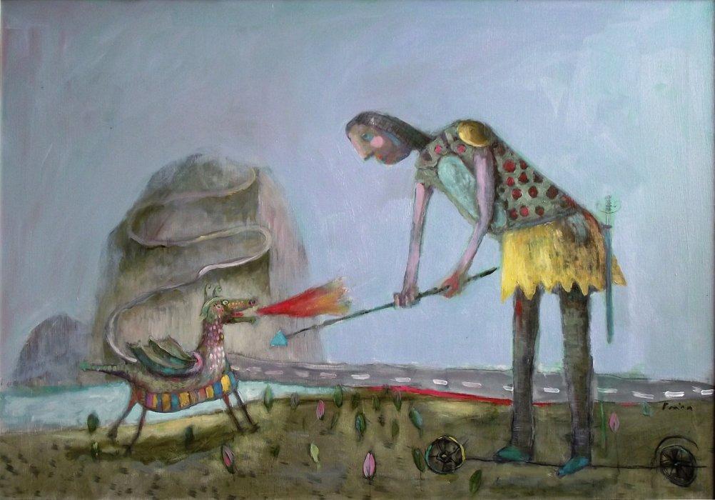 junak spašava ljepoticu, 100x70 cm, ulje na platnu, 700€