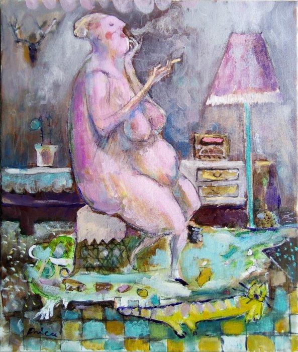 dama sa mačkom, 55x46 cm, ulje na platnu,400€