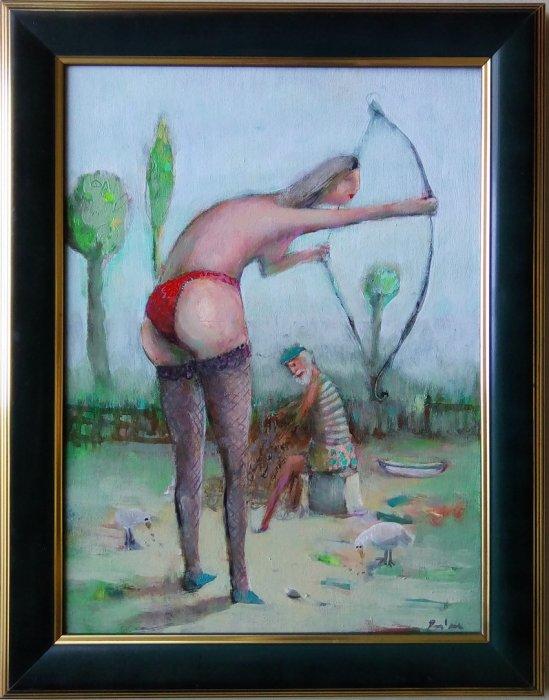 Dijana i ribar, ulje na platnu,30x40 cm