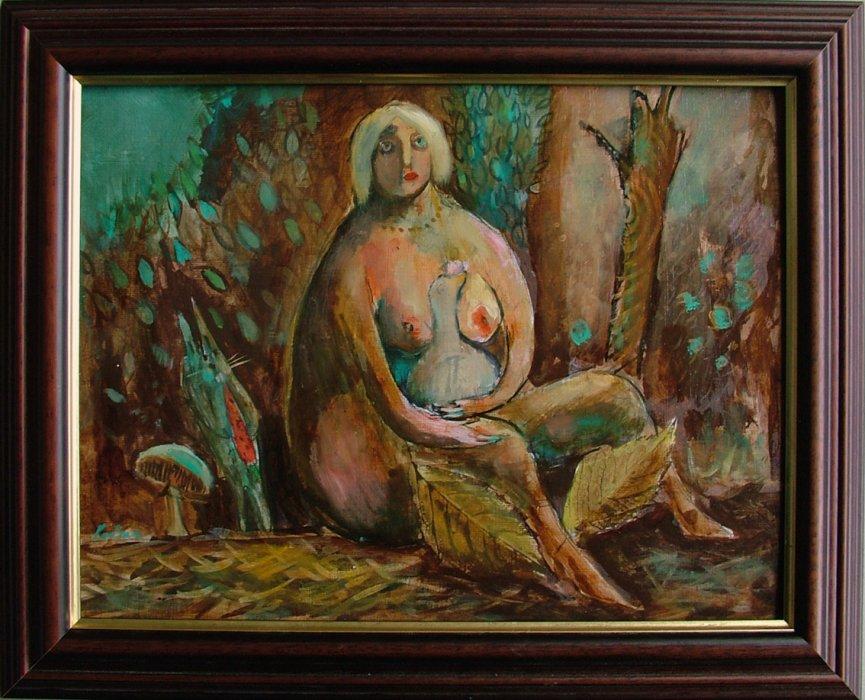 Ljepotica sa kokicom izgubljena u groznoj sumi, 40x30 cm, ulje na platnu,400€