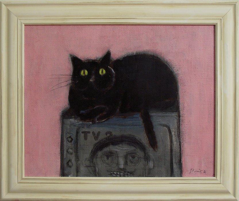 Mačak na televizoru, 50x40 cm, akril na platnu, 400€
