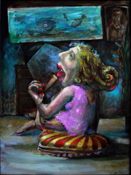dama sa kolačima, 46x38 cm, ulje na platnu, 400€, CIP