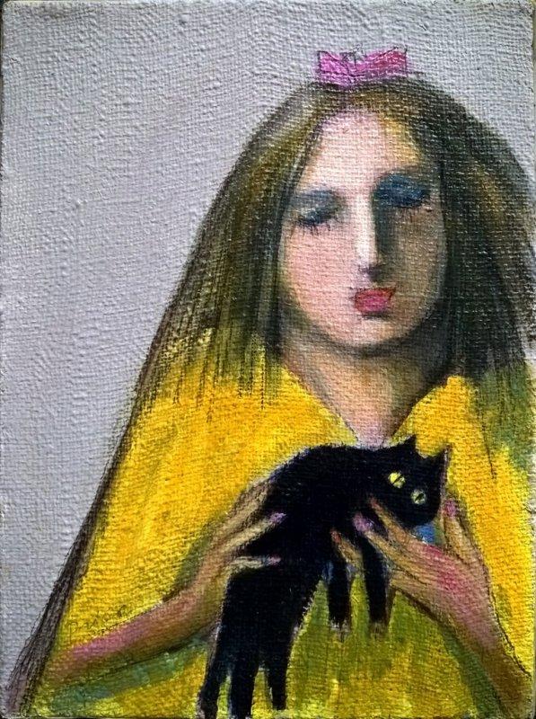 djevojka sa mačkom, 40x30 cm, ulje na platnu, prodato