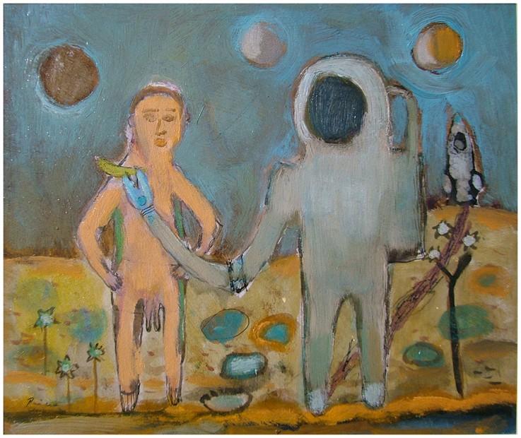 Astronaut i dvopenisno vanzemaljsko čudovište , komb. na kartonu,26x22 cm