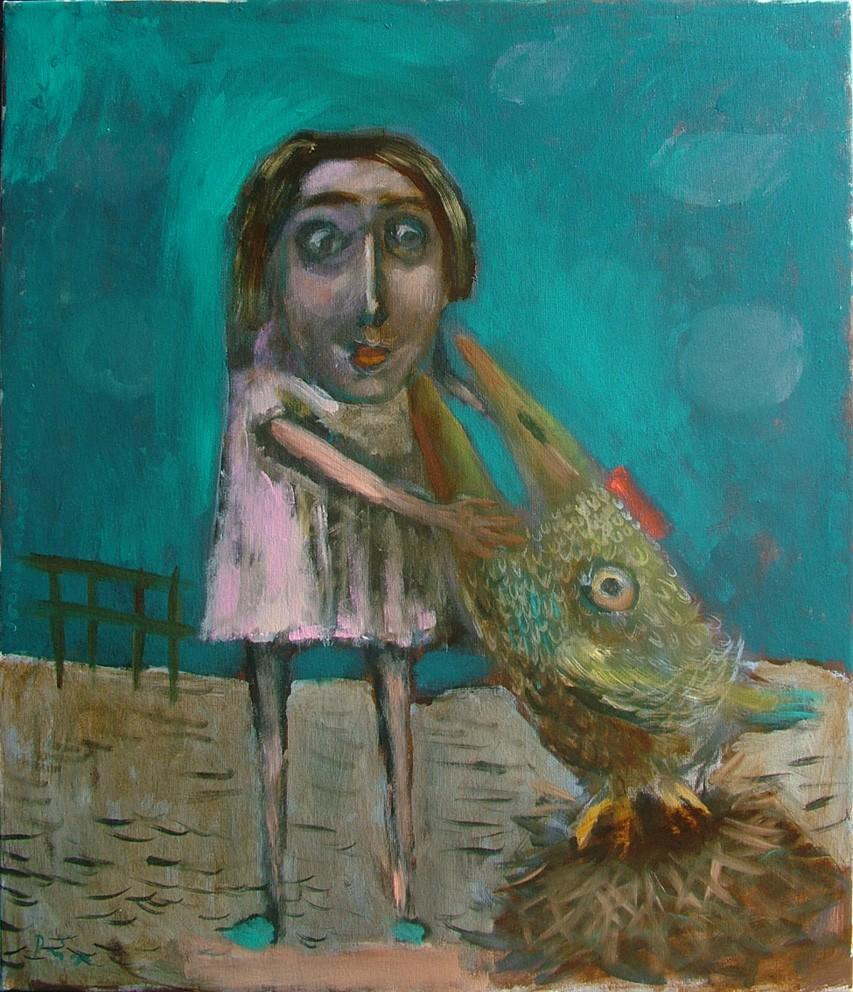 djevojčica i kokica,70x60 cm,ulje na platnu,Prodato