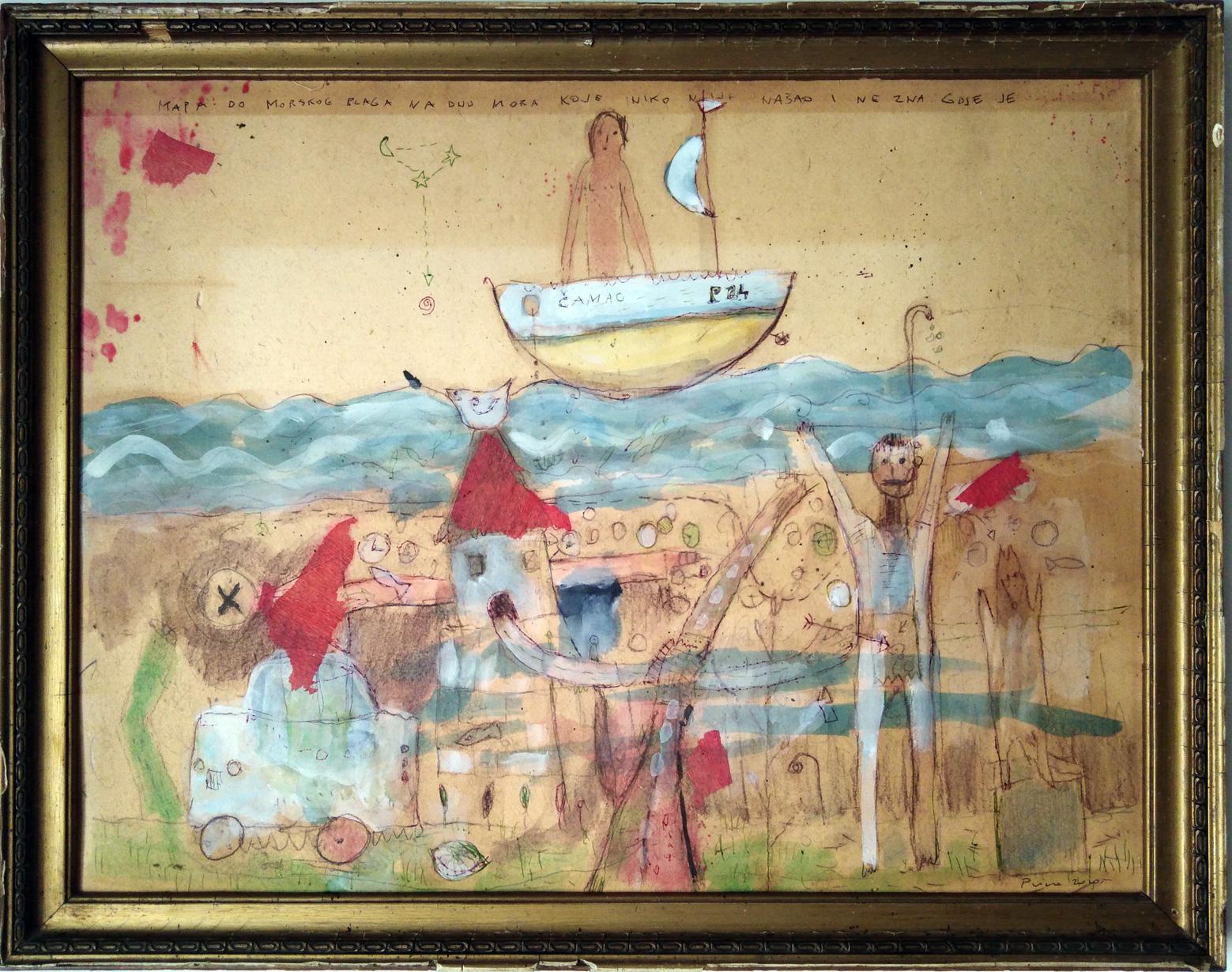 mapa do blaga na dnu mora, 55x43 cm, kom. na armiranom papiru, 450€