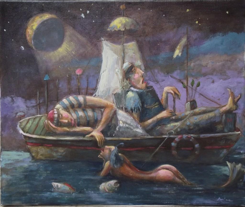 usnuli ribari 2, 55x46 cm, ulje na platnu,Prodato