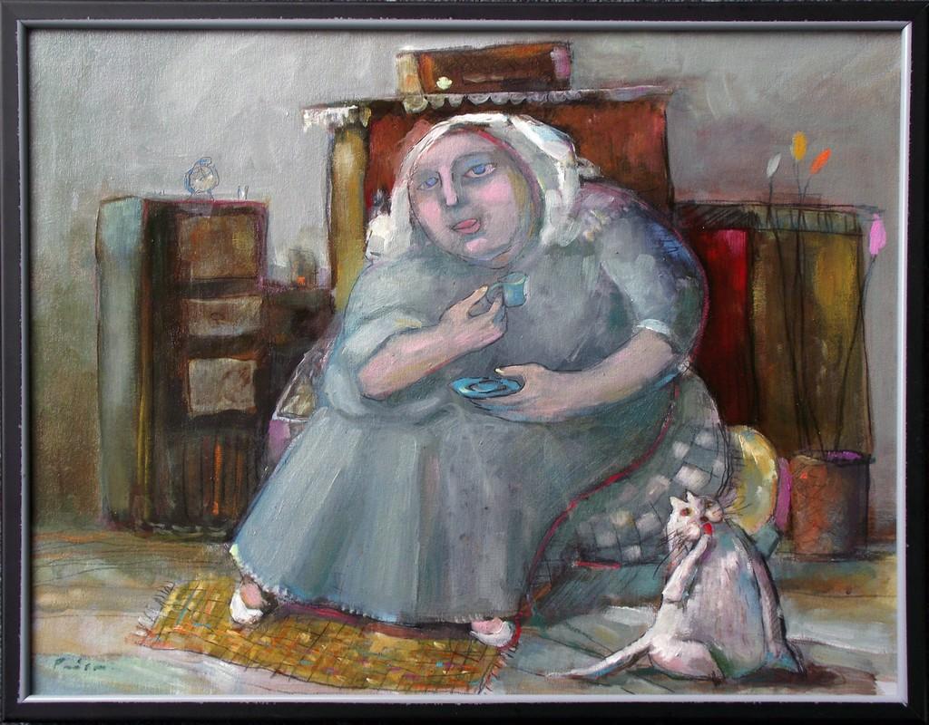 žena i mačak. 45x35 cm, ulje na platnu,250€